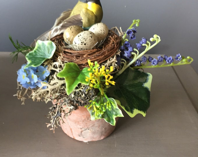 Featured listing image: Spring arrangement,  Easter flower arrangement, natural arrangement, Easter egg arrangement, nest with bird arrangement.