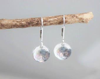 hammered disc earrings • dangle earrings • simple earrings • dainty tiny discs •  delicate jewelry • every day jewelry