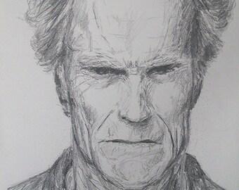 Clint Eastwood Graphite Portrait