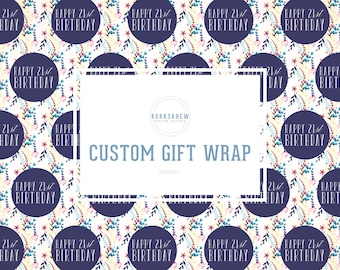 Custom Floral Birthday Gift Wrapping Paper