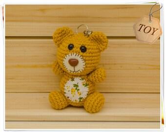 Crochet Keychain, Crochet Bear Keychain, Amigurumi Tedy Bear Keyring, Brown Bear Charm, Crochet Bear Bag Charm, Crochet Keychain Teddy Bear