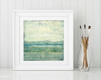 "Landscape Art Print: Abstract Art Contemporary Art, Mixed Media, aqua, blue green, mountain print, 8""x8"" or 12""x12"" print, ""Striations II"""
