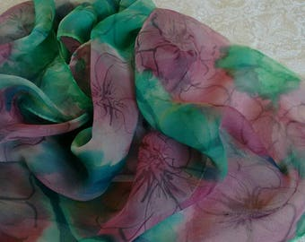 Cherry blossom silk scarf, hand painted silk scarf, Green  Pink scarf, natural silk scarf, floral silk scarf, mother day gift, free shipping