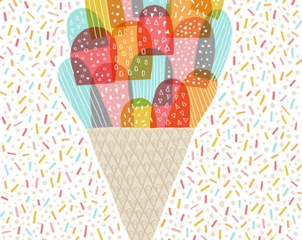 Ice-Cream with Rainbow Sprinkles - wall art - print