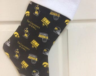 """The university of Iowa Christmas Stocking with free name embroidered, 18"""" X 8"""""""