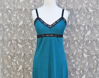 Soft Nightgown Organic Cotton Bamboo Women's Lingerie Full Slip Dress Extender or Sexy Nightie Sleepwear Eco Teal w/ your choice of lace