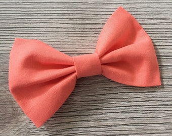 Coral Bow - Coral Bow Tie, Coral Hair Bow, Coral hair clip, kids bow tie, coral bowtie, ring bearer, coral wedding bow tie, orange bow, kids
