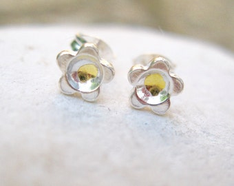 Silver and gold flower stud earrings, silver flower studs, silver and gold studs, flower earrings, fine silver studs, fine gold, handmade