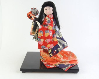 Japanese Vintage Doll, Kimono doll, Girl, Tsuzumi(Japanese hand drum)