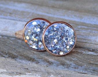 Rose Gold Silver Glitter Earrings, Stud Earrings, Post Earrings, Glitter, Gold Earrings, Sparkly Earrings, Gift, Jewellery, Jewelry, women