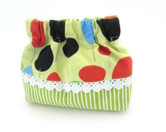 Squeeze coin pouch, mini bag, green stripe cotton, flex frame purse
