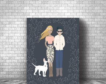 Printed Canvas - Digitally Illustrated Custom Family Portraits