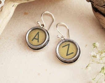 Typewriter key Earrings Custom made Letter Earrings for a Woman Customized Letters Dangle Earrings Old typewriter key jewelry