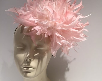 Pink Fascinator- Pink Feather Fascinator -Headpiece- Derby Fascinator- Wedding- Jazz Age- Bridal Shower Tea Party- Horse Racing- Polo Match