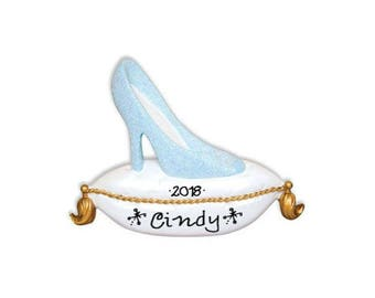 Sparkly Glass Slipper on Pillow Personalized Christmas Ornament / Princess / Heels / Hand Personalized Name or Message