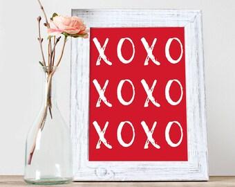 Xoxo In Red Art Print