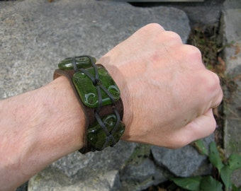 Suede Leather Large Moss Green Glass bead Pirate Cuff