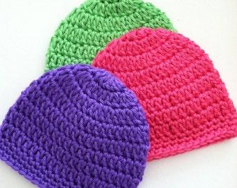 Gumdrop Beanie Set, Crochet Baby Hats, Newborn Hat, Hot Pink Baby Hat, Lime Green Hat, Crochet Baby Beanie, Purple Baby Hat, Photo Prop