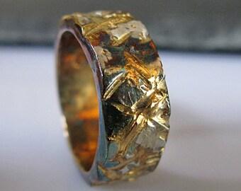 Mens Wedding Band Mens Wedding Ring Urban Graffiti Viking Wedding Ring Oxidized Gold Silver Ring Unique Mens Wedding Band Mens Wedding Rings