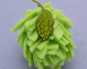 Silver Beer Hops Hard Enamel Lapel Pin