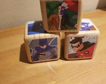 "2"" Batman//Children's book //wood play blocks //Story books //Nursery toy"