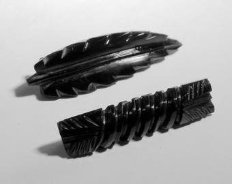 Pair of Carved Jet Bar or Collar Pins