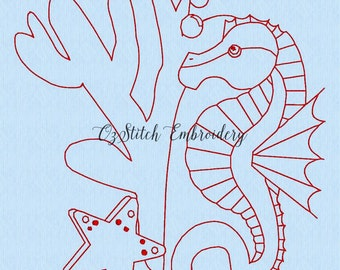Redwork Seahorse - panel 2. Machine embroidery. Download immediately.