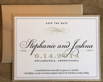 Gold Wedding Save the Date set