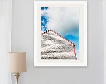 cape cod print, cedar shingles photo, cape cod barn, cottage chic art, blue red, beachhouse wall art, new england beach, coastal artwork