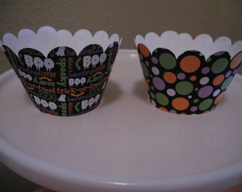 Halloween Cupcake Wrapper  Set of 12  Boo Polka Dots