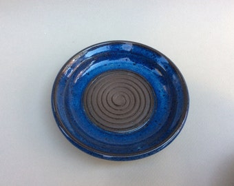 handmade blue ceramic garlic grater- garlic dish - pottery - stoneware - oil dipping dish, appetizer plate - dipping idsh - in stock - gift