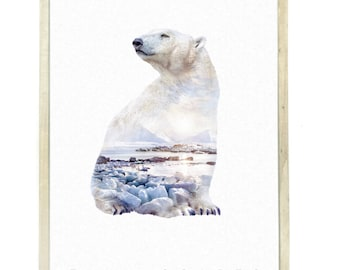 Polar Bear Animal Double Exposure Art Print - Faunascapes by WhatWeDo