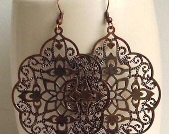SALE - Antique Copper - Big bold bohemian earrings, lace filigree, long, patina earrings