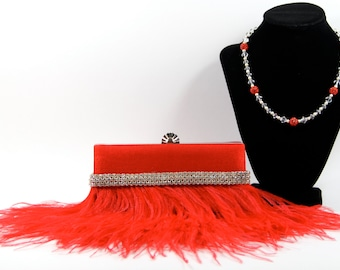 Red purse, Bridal Clutch - Red Ostrich Feather Purse with Swarovski & Pave' Crystal Purse Handle That Can Also Be Worn As A Necklace