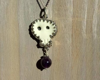 silver,ceramic and amethyste necklace