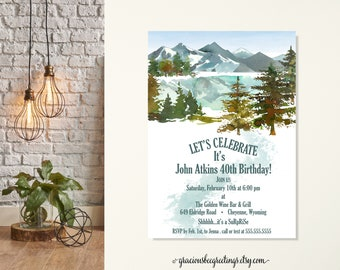 Adult Birthday Invitation, Adventure Awaits Birthday Party Invitation, Mountain Themed Birthday Party, Surprise Party, 40th, 50th, 60th