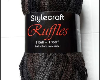 SALE - Stylecraft Ruffles acrylic, scarf yarn colour 1470 Ebony, black and brown mix