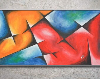 Hand-painted,Modern Abstract wall art on Canvas, Beautiful large artwork