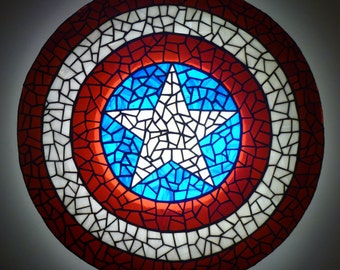 Captain America Shield Tiffany Stained Glass Shield Wall Lamp