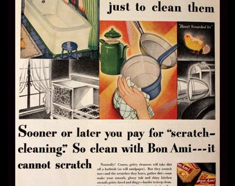 1931 Bon Ami Cleanser Ad - Wall Art - Home Decor - Kitchen - Full Color - Cake and Powder Cleanser - Retro Vintage Household Advertising
