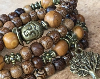108 Prayers Beads, Mothers Day gift, Natural Wood Beads, Tree of Life 108, Tiger Pearl, 108 Mala Bracelet, Yoga Necklace 108, Tibetan Buddha