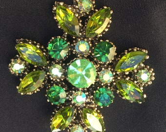 Large Vintage Weiss Brooch with Green and AB Rhinestones