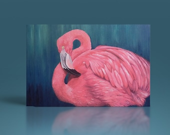 card mailing pink Flamingo, reproduction of original painting, wildlife painting