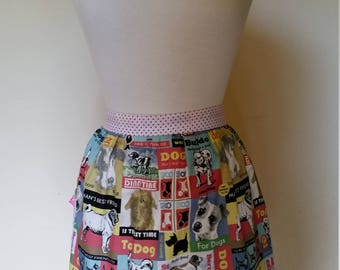 Vintage inspired half apron dog label print with polka dots strap and pocket with bow Ready to ship