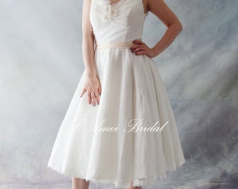 Vintage Style Tea Length V neck Lace Wedding Dress Featuring Off Shoulder Cap Sleeves - AM1235821