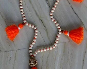 SALE! Boho Orange Tassel Wooden Off-White Bead Long Necklace / Yoga Necklace / Tassel Necklace / Wooden Necklace / Bohemian Jewelry