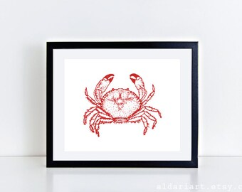 Crab Art Print Crab Wall Art Crab Poster Nautical Decor Nautical Print Crab Kitchen Wall Art Crab Bathroom Print Aldari Art Custom Color