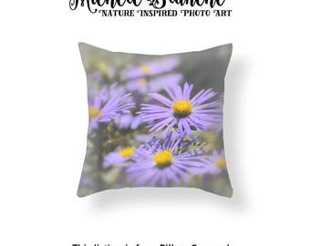 Asters Photo Pillow, Purple Flower Blossom Photo Pillow case,  Autumn Blooms Throw Pillow Cover, Field of flowers Asters Blooms Toss Pillow