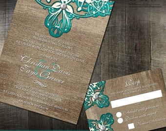 Rustic Wedding Invitation Burlap Doily Lace and RSVP Stationery - Customized Digital Files or Professional Printing Available