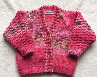 Pink Baby Girl Cardigan, Pink Baby sweater, knitted baby cardigan, knitted baby sweater, 3-6 month knits, knitted baby clothes, Baby knit